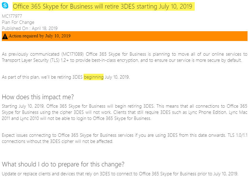 Prepare for 3DES removal from Office 365 and the future push