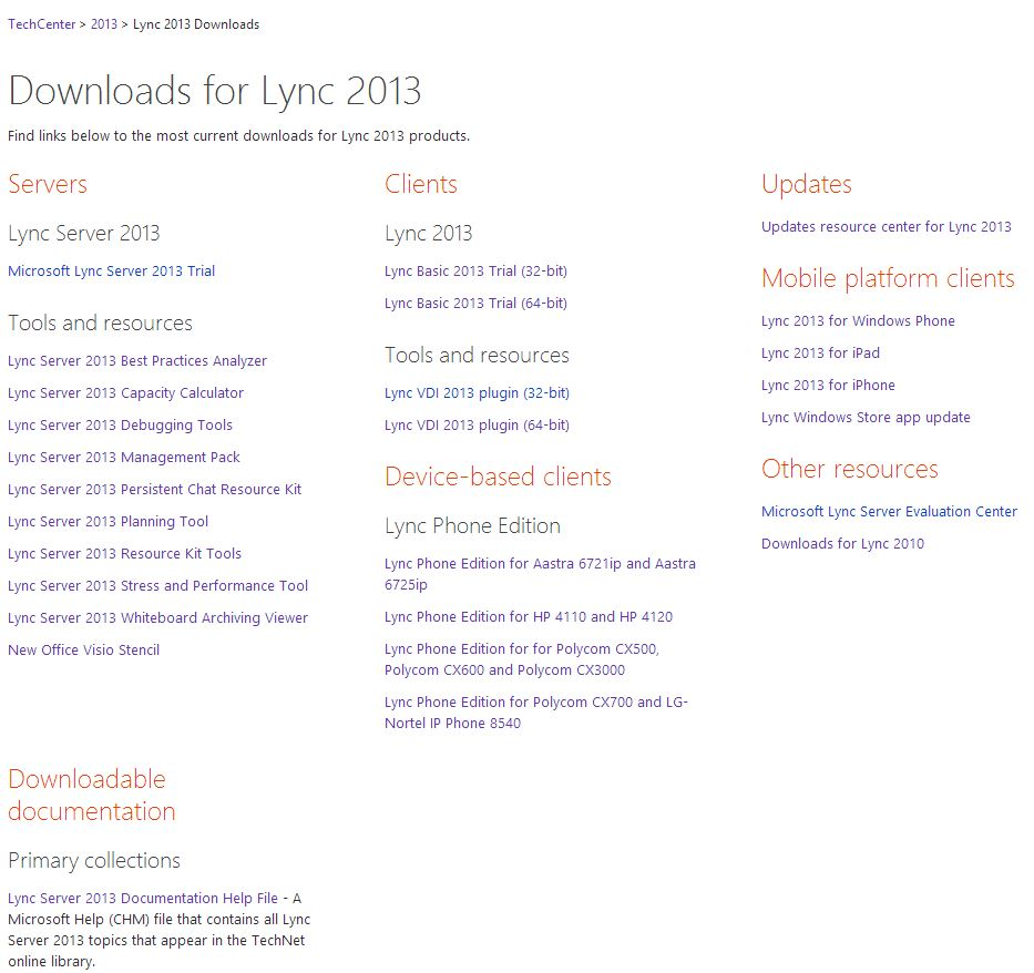 TechNet Lync downloads and updates page redesigned