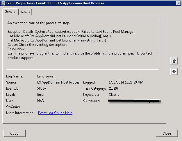 Lync 2013 SBA Front-End service fails to start